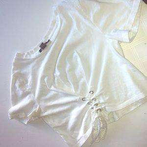 White dropped tshirt